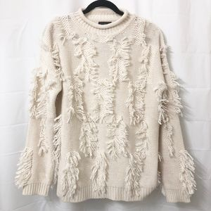 Magaschoni Cashmere/Wool Ivory Shag Sweater NWT